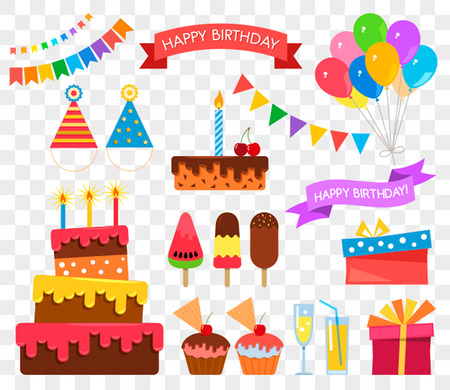 Celebration happy birthday party symbols carnival festive set. flat vector illustration