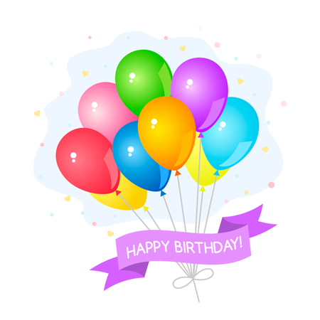 aria: Greeting card with a set of colored gel balloons. Concept Birthday. Vector cartoon style illustration
