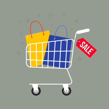 retail equipment: A basket full of bags and gift boxes. The concept of sales and discounts. Illustration