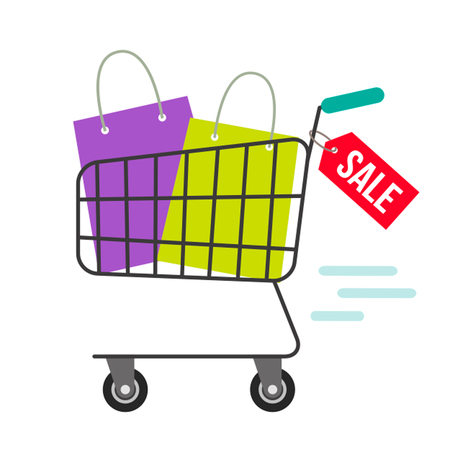 A basket full of bags and gift boxes. The concept of sales and discounts. Illustration