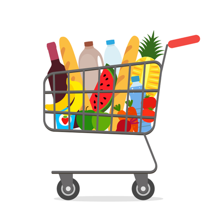 Metal shopping cart full of groceries products. vector illustration in flat style.