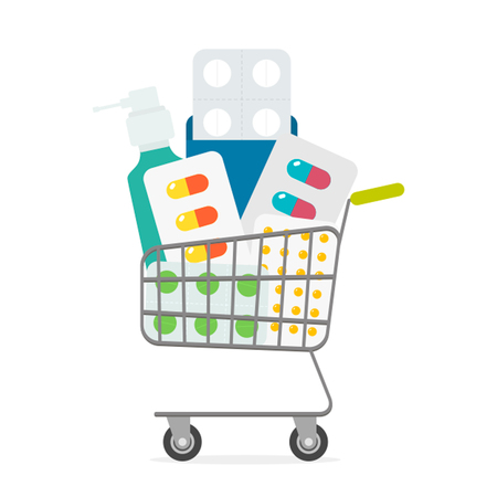 A basket full of medicines. The concept of an online pharmacy. Иллюстрация