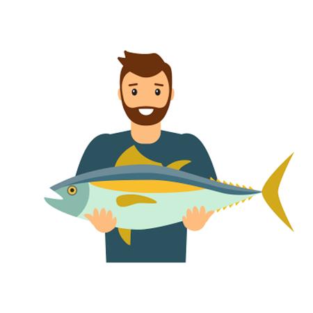 Le pêcheur montre la prise. Icône plate isolée sur fond blanc Vecteurs