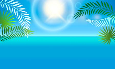 熱帯の風景は海とヤシの木です。レジャーや旅行のコンセプトです。ベクトル図