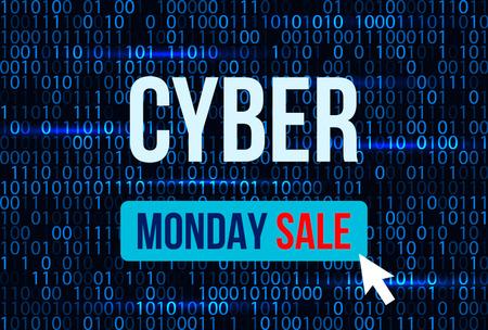 Sale technology banner for cyber monday.vector illustration Illustration