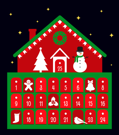 A traditional Christmas calendar of adventures in retro style. Vector illustration.
