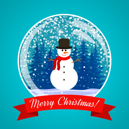 A traditional glass Christmas ball with a snowman, a tree inside. vector illustration.