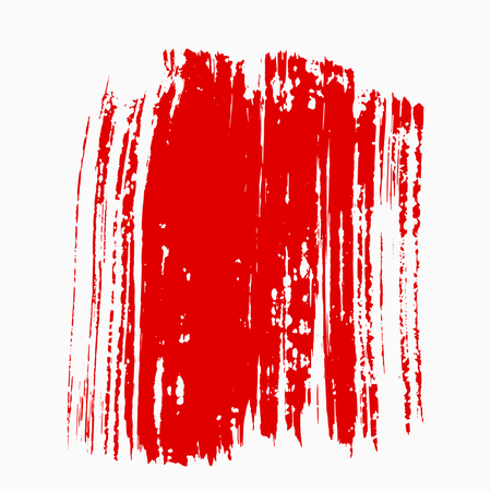 Abstract red thick smear of paint isolated