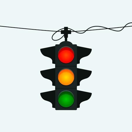 Hanging street traffic light. vector illustration isolated on white background