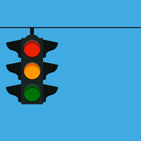 Hanging street traffic light. vector illustration on a blue background Illustration