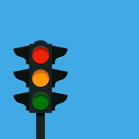 A traditional street traffic light. vector illustration on a blue background