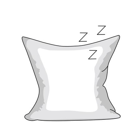 直線的なスタイルの白の枕。白い背景に分離されたフラット スタイルのアイコン