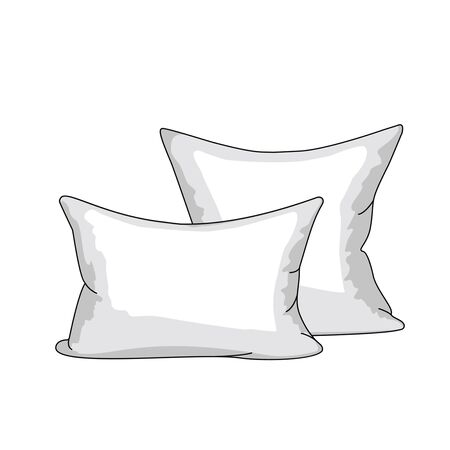 a set of white pillows in a linear style. icon in a flat style isolated on a white background