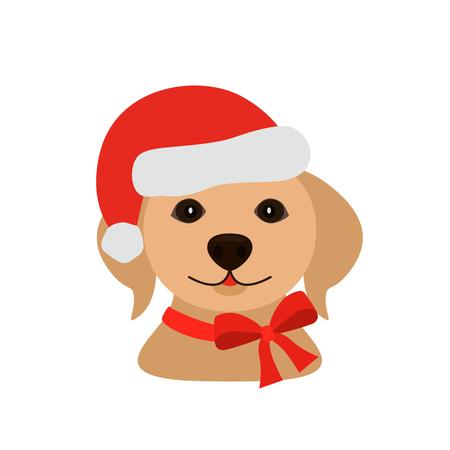 Perrito divertido de Labrador en el casquillo de Papá Noel - símbolo 2018. ilustración vectorial plana