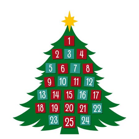 Adventkalender in een platte cartoonstijl. vectorillustratie geïsoleerd Stockfoto - 88921608