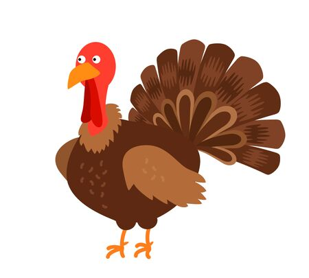 funny turkey icon in cartoon style. black and white background