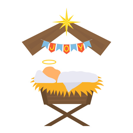 The baby Jesus was born. greeting card or banner. black and white background Иллюстрация
