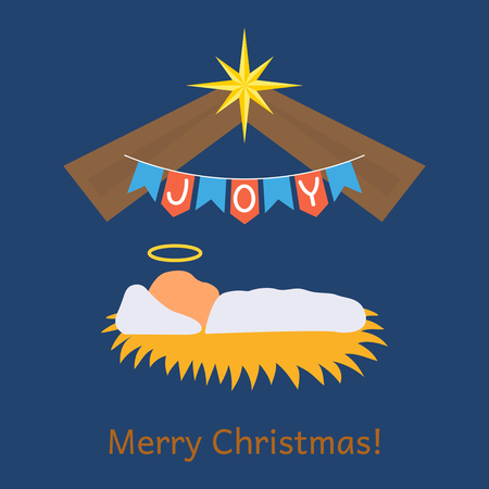 The baby Jesus was born. greeting card or banner. flat vector illustration