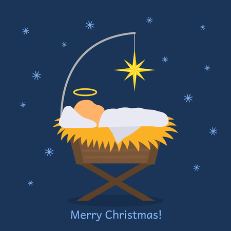 The baby Jesus was born. Greeting card or banner. Flat vector illustration.