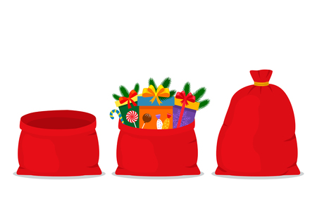 A set of three bags of Santa Claus - full, empty, open. vectorial flat Christmas illustration isolated on white background Illustration