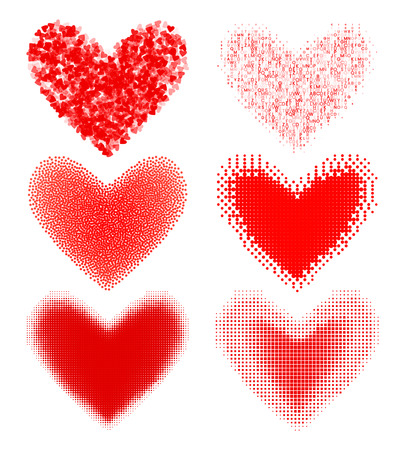 A set of modern hearts in halftones and pixels style vector illustration