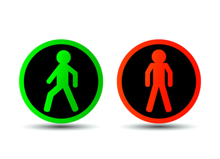 Traffic signs with a man flat vector illustration isolated