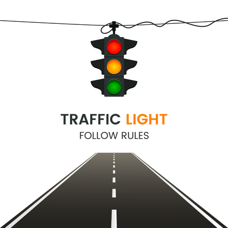 Straight road disappearing into perspective with modern hanging lights vector illustration Illustration