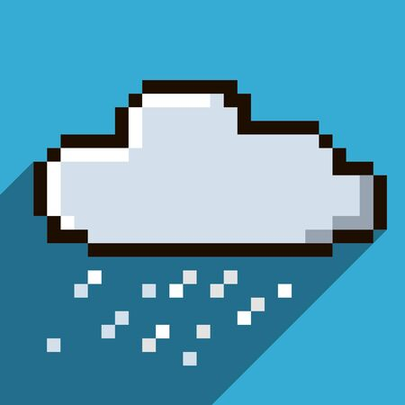 Pixel icon of the cloud vector web icon Illustration