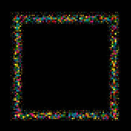 Colorful shiny frame with a halftone effect vector illustration