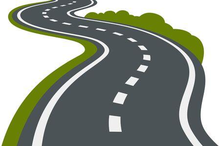 Een kronkelige weg die in perspectief vertrekt. zwart en witte achtergrond