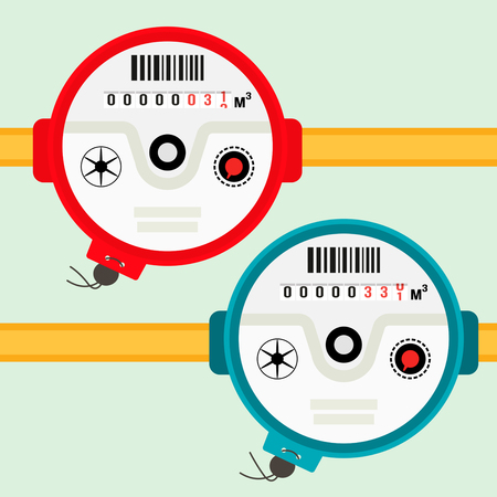 Water meter. Vector illustration of a water meter in a flat design isolated on a light background Vectores