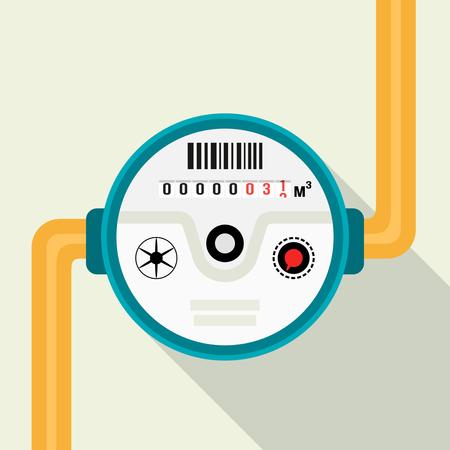 Medidor de água. Ilustração vetorial de um medidor de água em um design plano isolado em um fundo claro