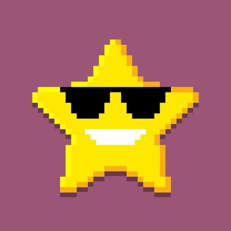Icon of the pixel star. computer generated illustration isolated on white background