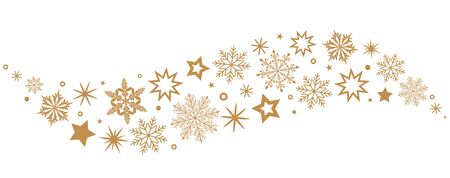 A gray whirlwind of golden snowflakes and stars. New Year's element. black and white background
