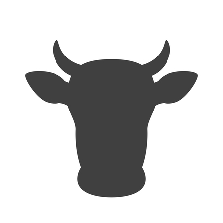Cow head icon. Cow head silhouette. Farm animal sign. Vector illustration. Иллюстрация
