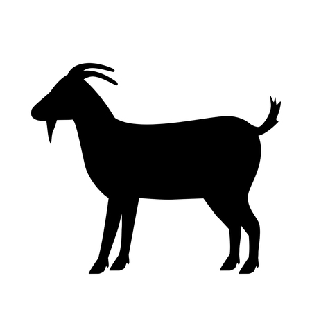 silhouette of a goat. flat vector illustration