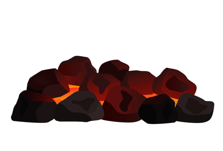 a pile of burning coal. black and white background