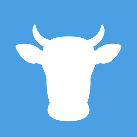 White silhouette of the head of a cow. vector illustration isolated on blue background