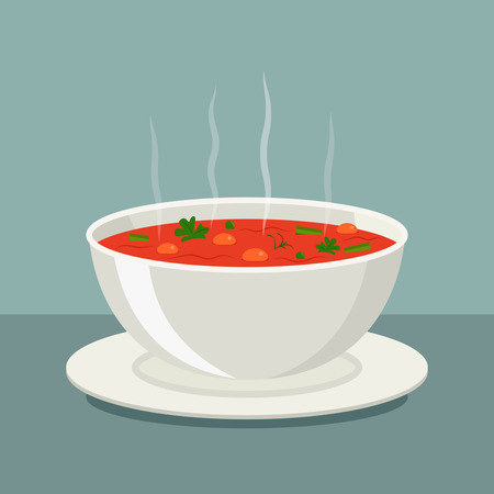 Hot vegetable soup in white dishes. vector illustration isolated.
