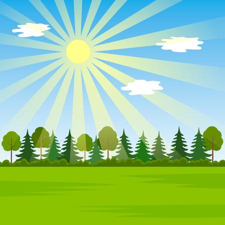 Rural landscape on a sunny day. concept of spring-summer. flat vector illustration