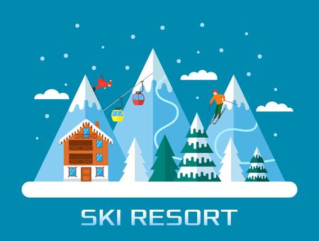 Ski season in the winter Alps. Winter landscape for web banner. flat vector illustration