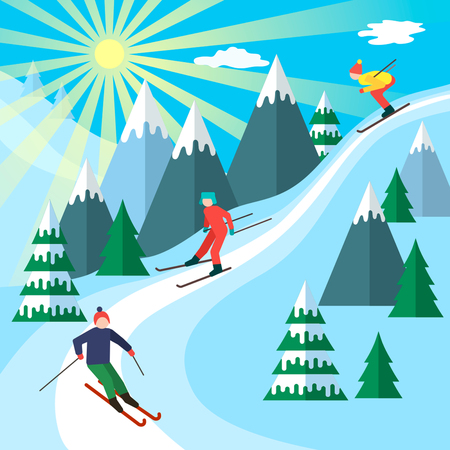 Ski season in the winter Alps. Winter landscape for web banner. flat vector illustration