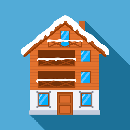 A wooden house for a ski resort. flat vector illustration isolated on blue background with long shadow