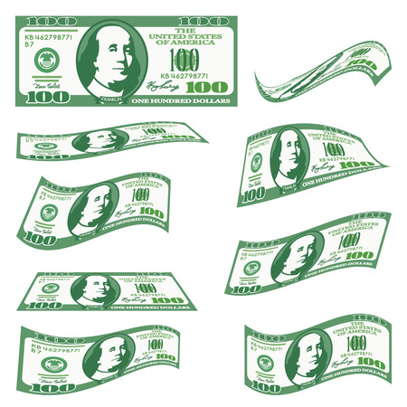 A set of 100 dollar bills of money in different angles. falling money, dollars in the future. black and white background