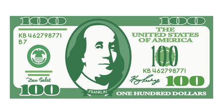 100 dollar bill with the portrait of Franklin in a cartoon style. Unreal money. black and white background Illusztráció