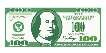100 dollarrekening met het portret van Franklin in een cartoonstijl. Onwerkelijk geld. zwart en witte achtergrond