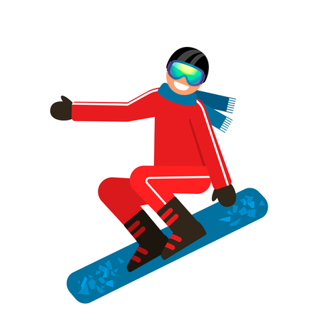 Snowboarder jumping through air with deep blue sky in background. Illustration