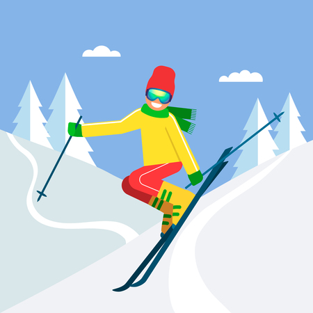 Young sportsman skier jumping on skis from a mountain in the background. The concept of sport and competition. Vector illustration.