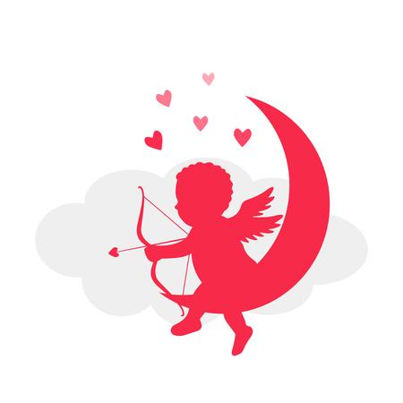 矢印とタマネギの恋のキューピット。幻想の古代神話のシルエット。フラット ベクトル イラスト白背景に分離されました。バレンタインデーのコン