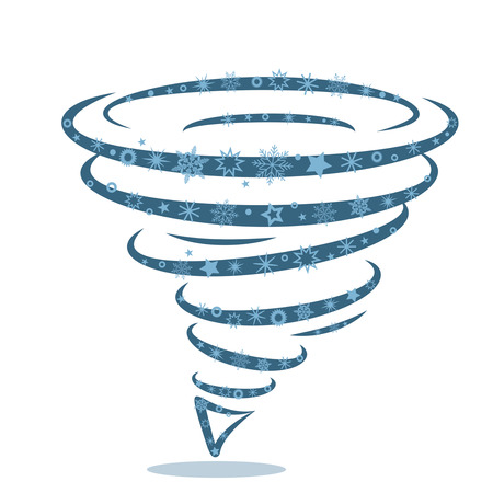 Icon of a snow cyclone-tornado. The concept of natural disasters and severe frosts in the United States.